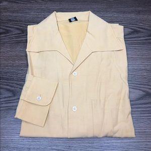 Ike Behar Light Gold Silk Shirt L